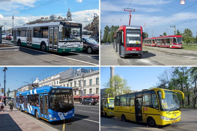 Общественный транспорт в Санкт-Петербурге. Фото: Florstein (WikiPhotoSpace), Dezidor (Wikimedia Commons)