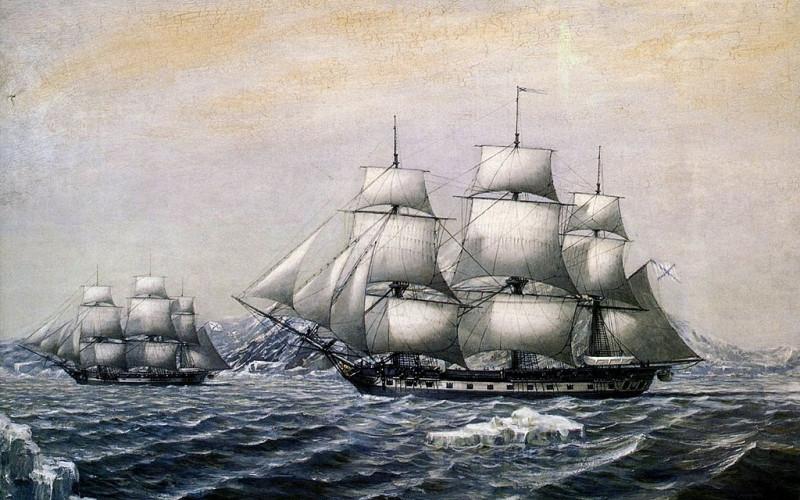 """Шлюпы """"Восток"""" и """"Мирный"""" у берегов открытой ими Антарктиды в январе 1820 года"""