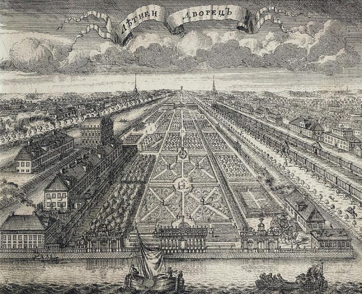 Летний дворец и Летний сад в Санкт-Петербурге, 1716 г. Автор: А. Ф. Зубов