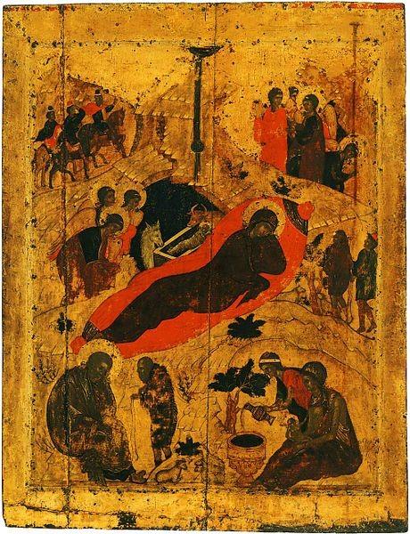"""Рождество Христово"", икона Андрея Рублёва, источник фото: Wikimedia Commons, Автор: Shakko"