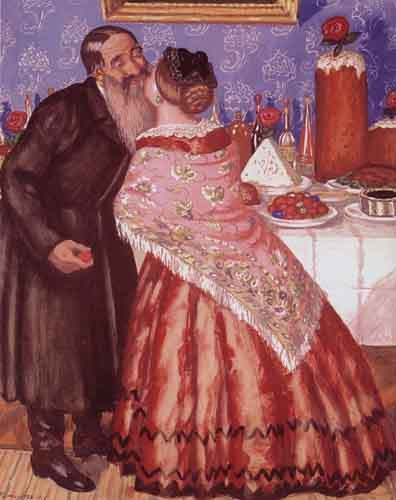 Б. Кустодиев Пасхальная открытка (1912), Б. Кустодиев Пасхальная открытка (1912), источник фото: Wikimedia Commons