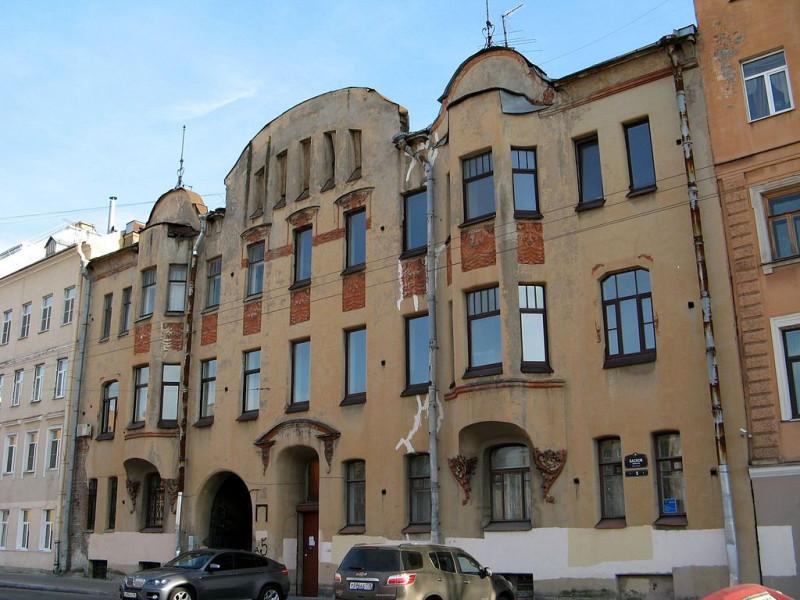Доходный дом А. И. Ерошенко, Басков переулок, дом № 5. Фото: Екатерина Борисова (Wikimedia Commons)