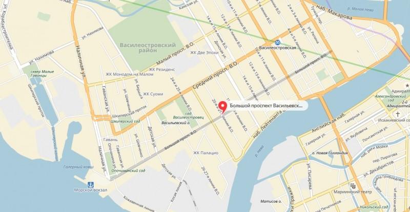 Большой проспект Васильевского острова на карте Санкт-Петербурга