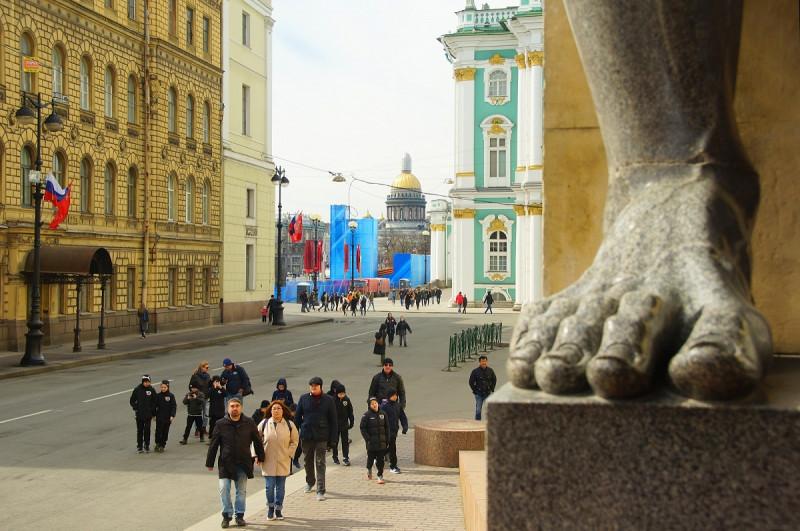 Вид с Портика Нового Эрмитажа в Санкт-Петербурге