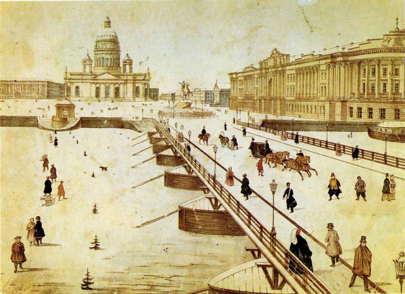 Вид на Исаакиевский мост. Раскрашенная литография. 1830-e гг. Источник: Wikimedia Commons