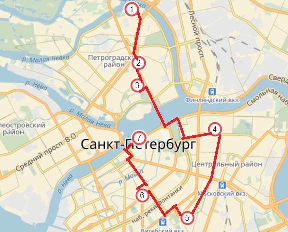 Карта маршрут № 2 (точки маршрута обозначены цифрами)