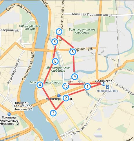 """Карта """"Маршрут по Охте"""" (с точками)"""