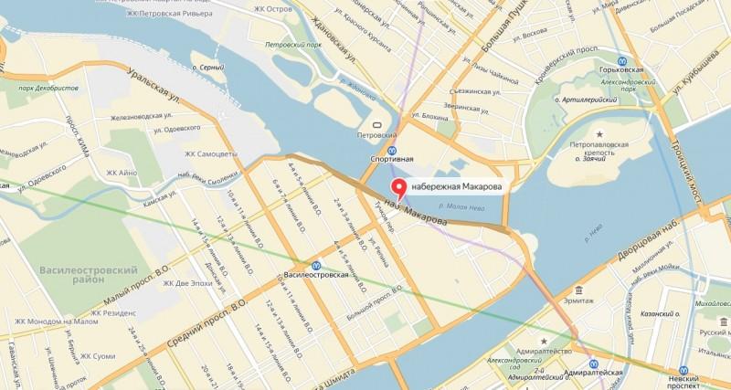 Набережная Макарова на карте Васильевского острова Санкт-Петербурга.