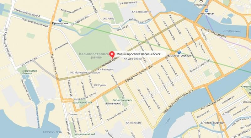 Малый проспект Васильевского острова на карте Санкт-Петербурга