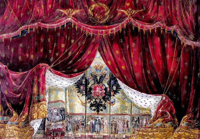 Drawing of the house curtain of the Imperial Mariinsky Theatre, St. Petersburg, prior to 1914. (Wikimedia Commons)