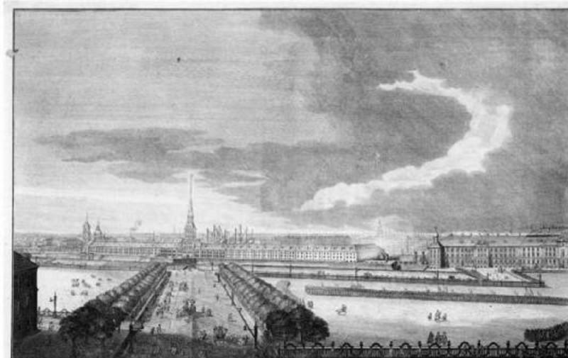 Невский проспект у Адмиралтейства, 1753 г. Гравюра Г. А. Качалова