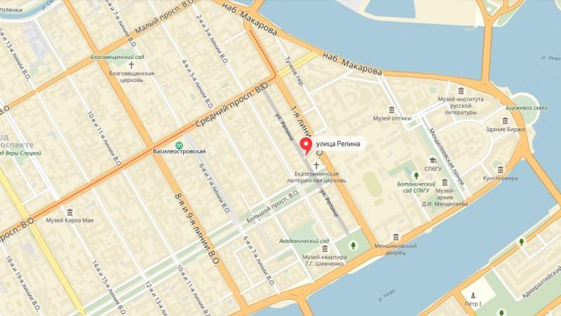 Улица Репина на карте Васильевского острова Санкт-Петербурга.