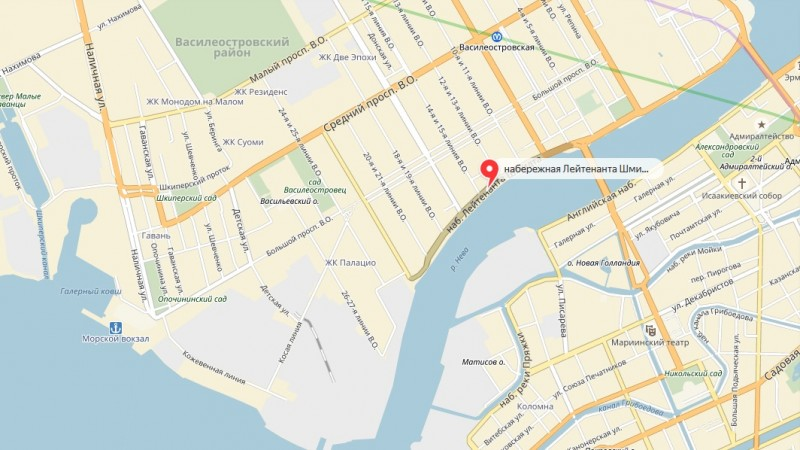 Набережная Лейтенанта Шмидта на карте Васильевского острова Санкт-Петербурга.