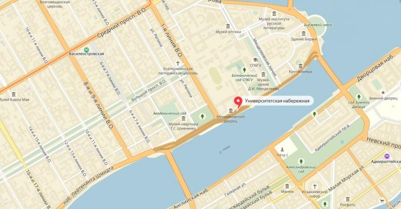 Университетская набережная на карте Васильевского острова Санкт-Петербурга.
