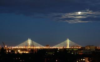 Большой Обуховский мост в Санкт-Петербурге (ночной вид). Фото: Black leon (Wikimedia Commons)