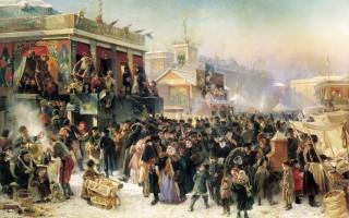 Народное гулянье во время масленицы на Адмиралтейской площади в Петербурге, 1869 г.  Художник К. Е.  Маковский.  Автор: Loyna, Wikimedia Commons