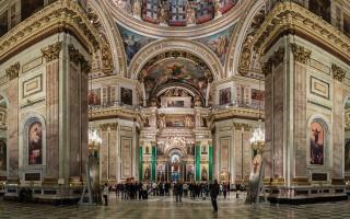 Панорамное изображение интерьера Исаакиевского собора в Санкт-Петербурге. Автор фото: Ximeg (Wikimedia Commons)