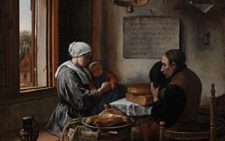 "Ян Стен ""Молитва перед едой"" (1660 г.) Дерево (дуб), масло"