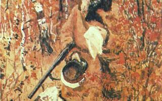 """Картина """"Некрасов на охоте"""". Художник: А. Пластов"""