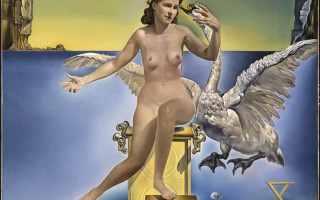 Сальвадор Дали. Атомная Леда. 1947-1949. Холст, масло. 61 × 46 см. Фонд «Гала — Сальвадор Дали» (Salvador Dalí, Fundació Gala-Salvador Dalí)