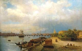 Л. Лагорио. Вид с Петропавловской набережной на Неву, 1859, источник фото: Wikimedia Commons