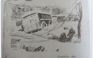 Зарисовки С. А. Гельберга. Источник: Центральная городская публичная библиотека имени В. В. Маяковского в Санкт-Петербурге