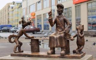 """Памятник """"Трое из Простоквашино"""" в Колпино. Фото: ktoya (wikimapia.org)"""