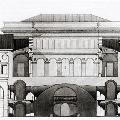 Проект переустройства Манежа и конюшен. 1940 г. Автор: А. В. Сивков, Wikimedia Commons