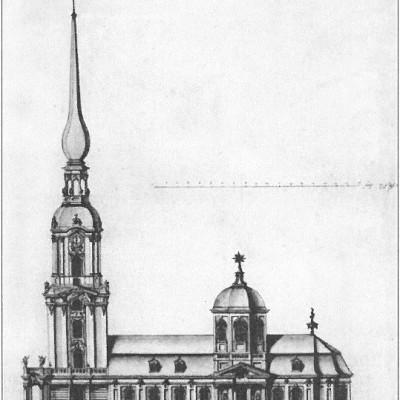 Южный фасад церкви Исаакия Далматского. 1721 г., ГЭ, источник фото: Wikimedia Commons, Автор: Н. Ф. Гербель