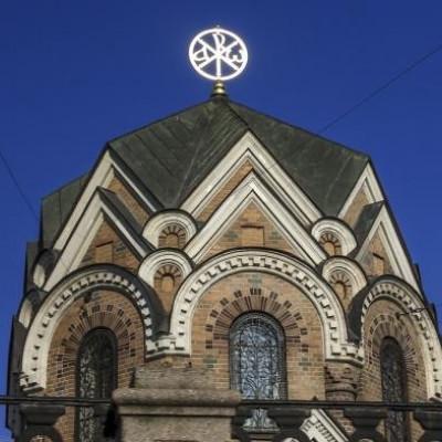 Хризма , венчающая купол Иверской часовни, источник фото: https://vk.com/page-84794881_49128104