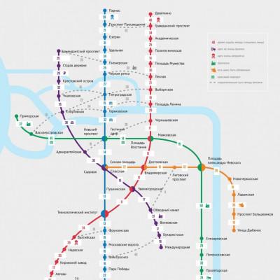 Пешеходная карта метро Санкт-Петербурга