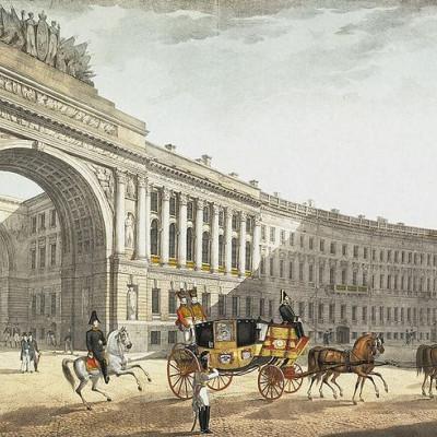 Первоначальный проект, 1820 год, вид с Дворцовой площади. Литография К. Беггрова, источник фото: Wikimedia Commons