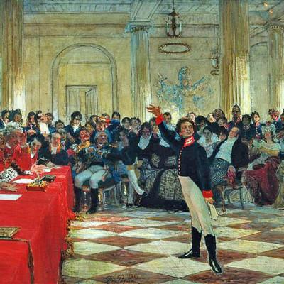 А. С.Пушкин читает свою поэму перед Гавриилом Державиным. Автор рисунка: Ilya Repin, Wikimedia Commons