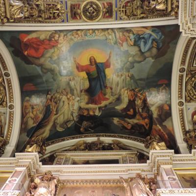"Роспись Бруни ""Страшный суд"", источник фото: http://www.hellopiter.ru/The_isaakievskiy_cathedral.html?sa=X&ved=0CCkQ9QEoADAOahUKEwjs_JrWl_fGAhUJyRQKHSzrBbA"