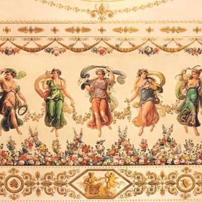 Фрагмент росписи потолка в Танцевальном зале. Художники –  П. Cкотти, Б. Медичи. 1830-е г., , источник фото: https://vk.com/public29176041