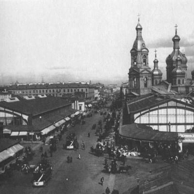 Сенная площадь в начале XX века, Успенская церковь, корпуса Сенного рынка, источник фото: Wikimedia Commons