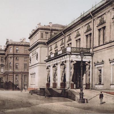 Новый Эрмитаж, портик с фигурами атлантов. Фотолитография. 1896-1897 гг. Автор: Unknown, Wikimedia Commons