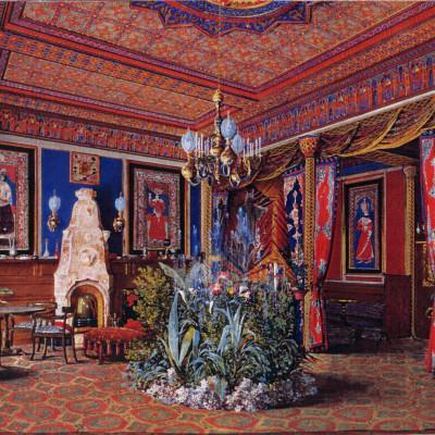 Восточная гостиная (Мавританская) на акварели художника  А. А. Редковского. 1863 г., источник фото: https://vk.com/public29176041
