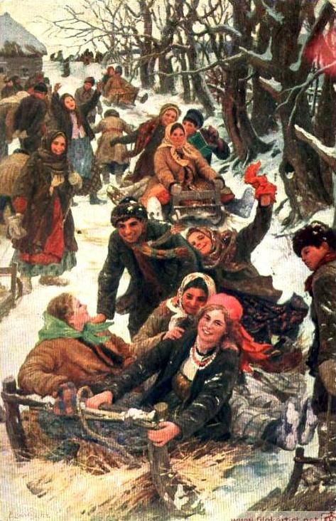 Ф. В. Сычков. Праздничная забава, ранее 1917 г. (Wikimedia Commons)