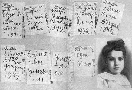Дневник Тани Савичевой, источник фото: Wikimedia Commons