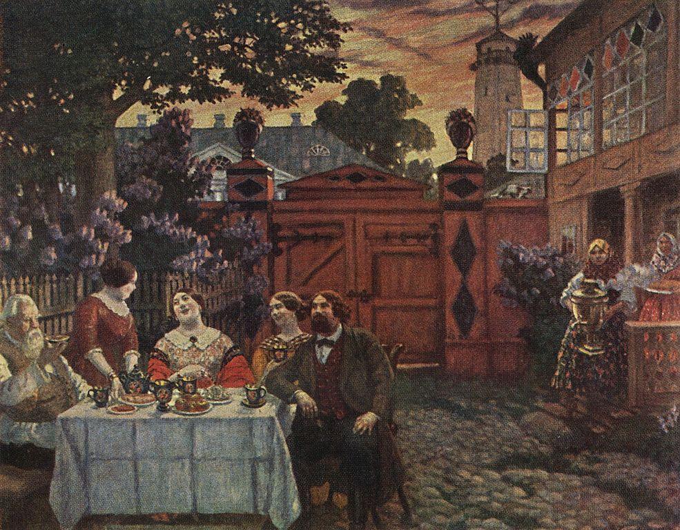 Борис Михайлович Кустодиев. Чаепитие, 1913 г.  Источник: частное собрание (Art-Catalog.ru)