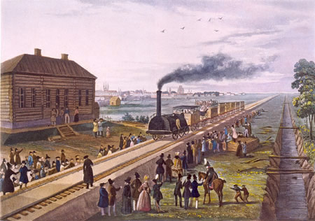 Торжественное открытие железной дороги Царское Село. 30 октября 1837 г.  (Русский музей). Фото: Wikimedia Commons