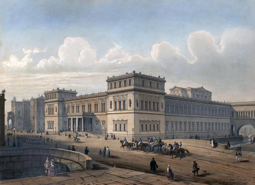 Новый Эрмитаж. Санкт-Петербург, XIX век. Автор: И. И. Шарлемань. Источник: https://commons.wikimedia.org/