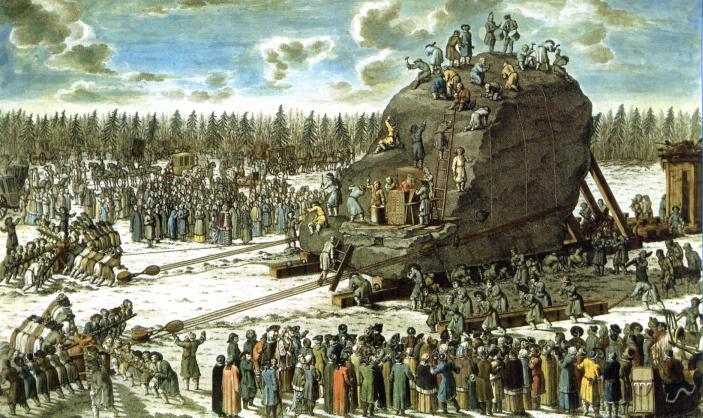 "Транспортировка ""Гром-камня"". Гравировка И. Ф. Шлея рисунка Ю. М. Фельтена 1770 (Wikimedia Commons)"