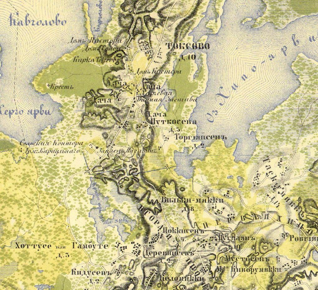 План села Токсово. 1860 г. Карта Санкт-Петербургской губернии