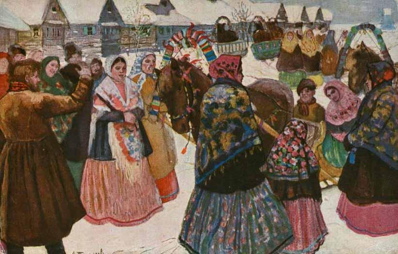 Смотрины молодых, А. Н. Третьяков. В деревне, 1867 г. (Wikimedia Commons)