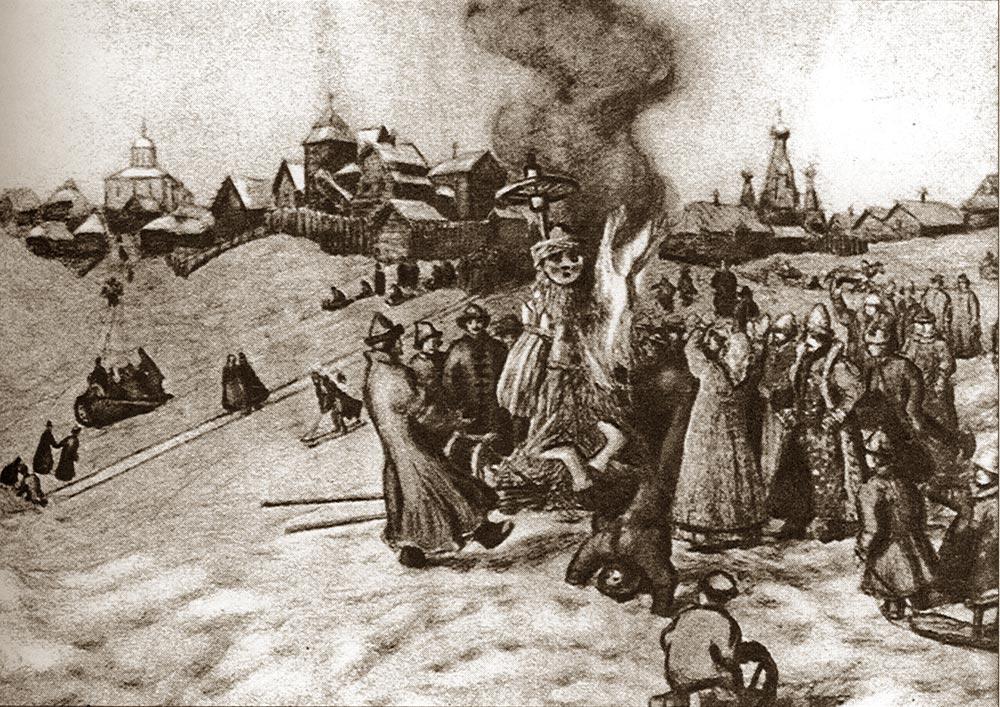 А. М. Васнецов. Сжигание чучела Масленицы в начале XX в. (Wikimedia Commons)