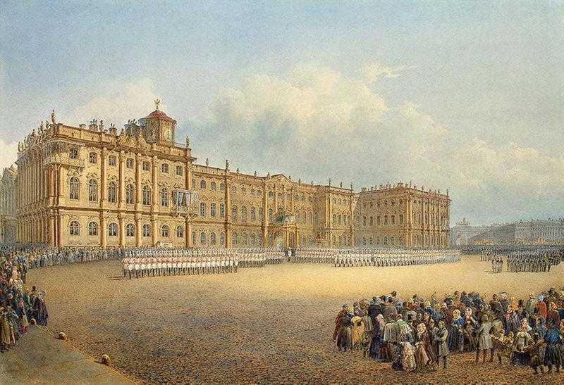 Вид Зимнего дворца со стороны Адмиралтейства. 1830-е г.г., источник фото: Wikimedia Commons, Автор: Vasily Sadovnikov