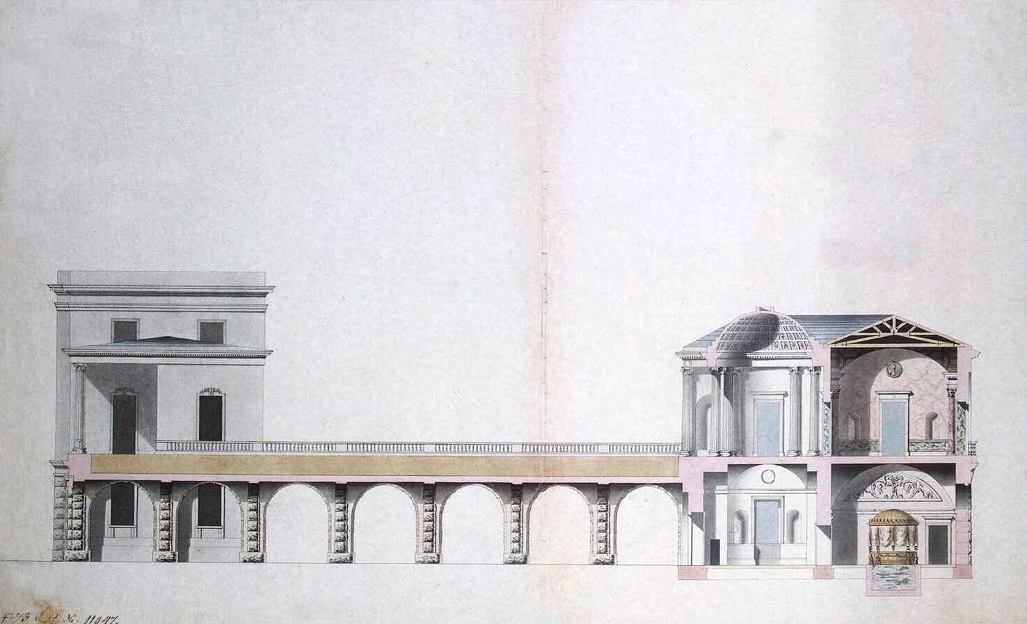 Проект висячего сада в Царском селе. 1780 г. Автор: Charles Cameron, Wikimedia Commons