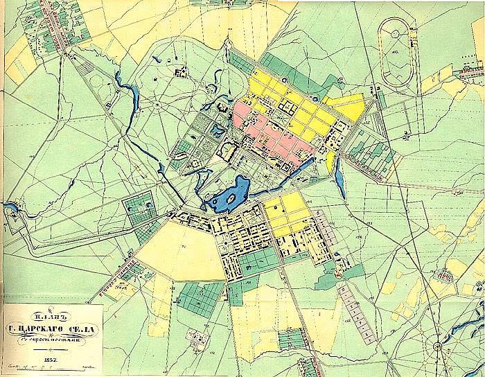 Карта Царскаго Села. План г. Царскаго Села с окрестностями. Автор: Н.Цилов (Wikimedia Commons)